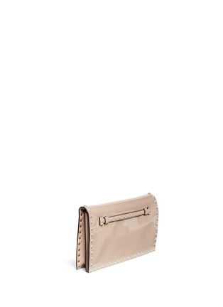 Front View - Click To Enlarge - Valentino - 'Punkouture Rockstud' patent leather foldover clutch