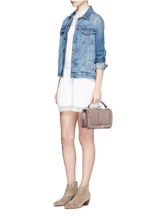 Front View - Click To Enlarge - Rebecca Minkoff - 'Love' curb chain quilted leather crossbody bag