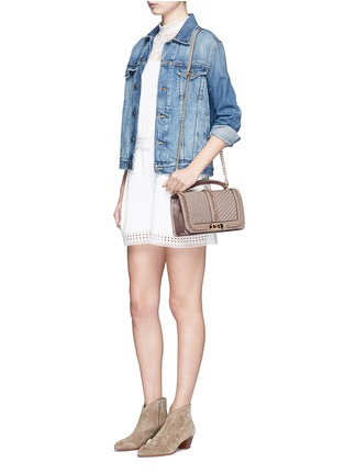 Figure View - Click To Enlarge - Rebecca Minkoff - 'Love' curb chain quilted leather crossbody bag