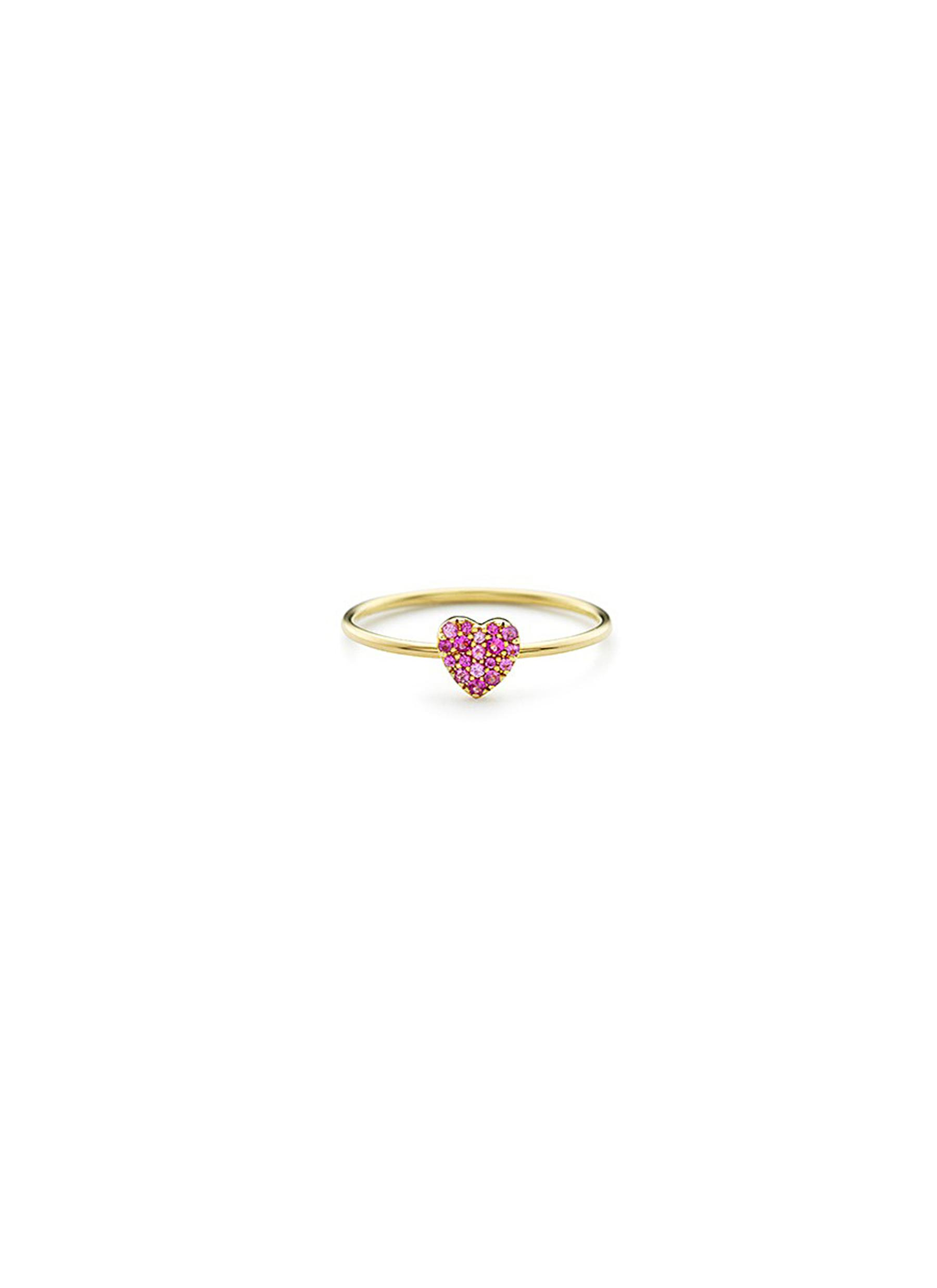 Sapphire 18k yellow gold heart charm ring by Loquet London
