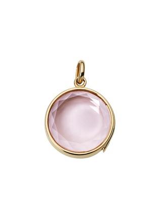 Loquet London-14k yellow gold rose quartz round locket - Medium 18mm