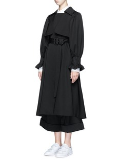 Chictopia Pintuck cuff belted wool twill trench coat