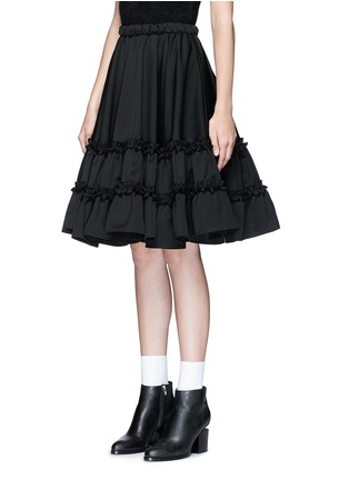 Front View - Click To Enlarge - Chictopia - Ruffle trim wool twill flared skirt