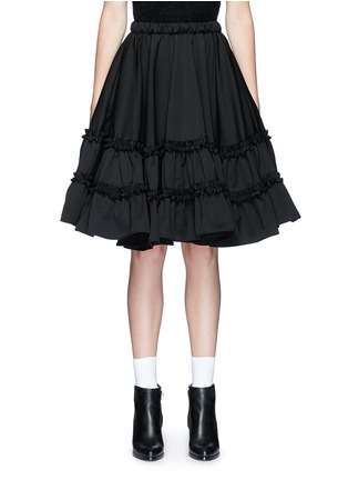 Main View - Click To Enlarge - Chictopia - Ruffle trim wool twill flared skirt