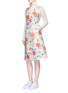 ChictopiaFloral V-back wool-blend flare dress