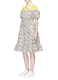 ChictopiaForest print ruffle hem V-back dress