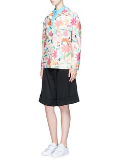 Chictopia Floral print pocket wool-silk jacket