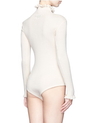 Back View - Click To Enlarge - Chictopia - Ruffled turtleneck rib knit bodysuit