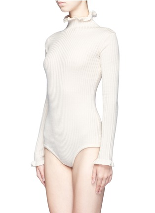 Front View - Click To Enlarge - Chictopia - Ruffled turtleneck rib knit bodysuit