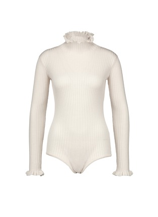 Main View - Click To Enlarge - Chictopia - Ruffled turtleneck rib knit bodysuit