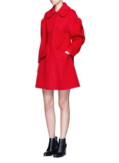 Chictopia Puff sleeve tuck pleat wool melton coat
