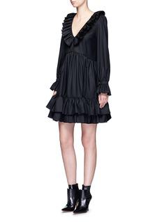 GivenchyRuffle wool gabardine V-neck dress
