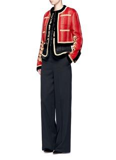 GivenchyEmbroidered tweed  velvet trim military jacket