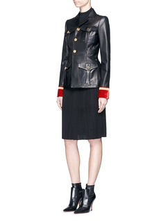 Givenchy Embroidered velvet cuff leather military jacket