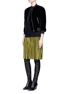 Givenchy Pleated stripe wool blend skirt