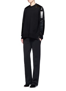 Givenchy Croc embossed leather patch wool sweater