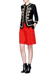 GivenchyDecorative button velvet trim grain de poudre shorts