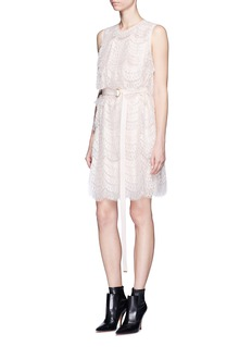 Givenchy Layered lace belted sleeveless dress