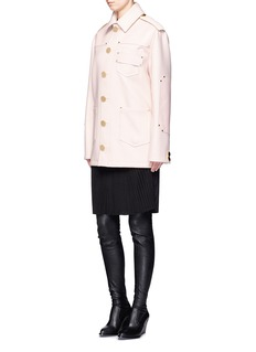 Givenchy Nappa leather patch felted wool coat