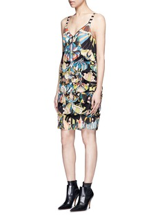Givenchy Crazy Cleopatra print fan appliqué silk dress