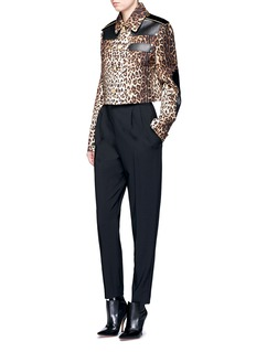 Givenchy Leather patch leopard print gabardine jacket