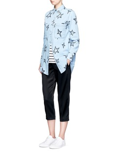 Etre Cecile  Oversized star embroidered denim shirt