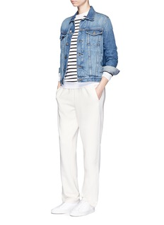 Etre Cecile Slogan embroidery breton stripe cotton sweatshirt