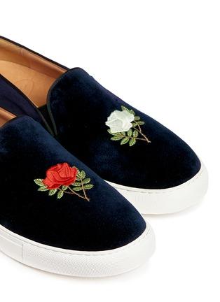 Bing Xu-'TriBeCa' rose embroidery velvet skate slip-ons