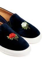 'TriBeCa' rose embroidery velvet skate slip-ons
