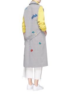 Mira Mikati 'Splish Splash' embroidered sleeveless trench coat
