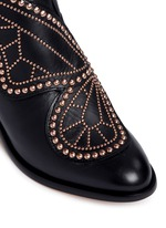 'Karina' butterfly stud embellished leather boots