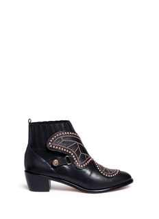 Sophia Webster 'Karina' butterfly stud embellished leather boots
