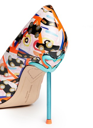 Detail View - Click To Enlarge - Sophia Webster - 'Coco Flamingo' graphic print leather pumps