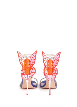 Back View - Click To Enlarge - Sophia Webster - 'Chiara' butterfly appliqué metallic leather sandals