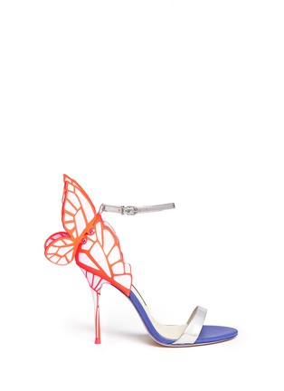 Main View - Click To Enlarge - Sophia Webster - 'Chiara' butterfly appliqué metallic leather sandals