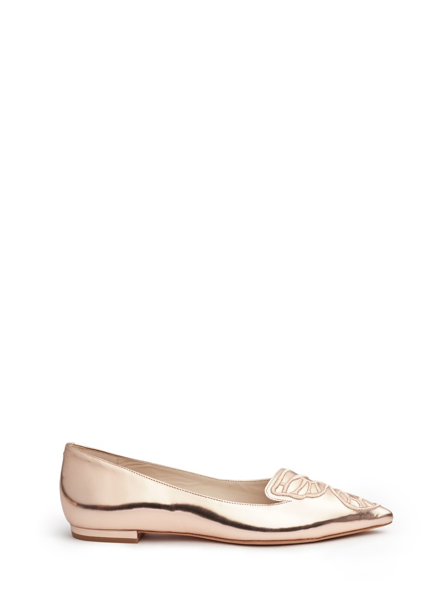 Bibi embroidered butterfly wing mirror leather flats by Sophia Webster