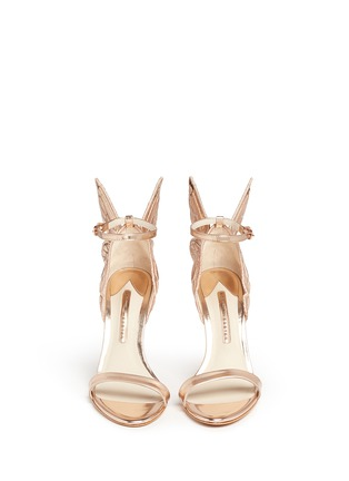 Front View - Click To Enlarge - Sophia Webster - 'Chiara' butterfly embroidery metallic leather sandals
