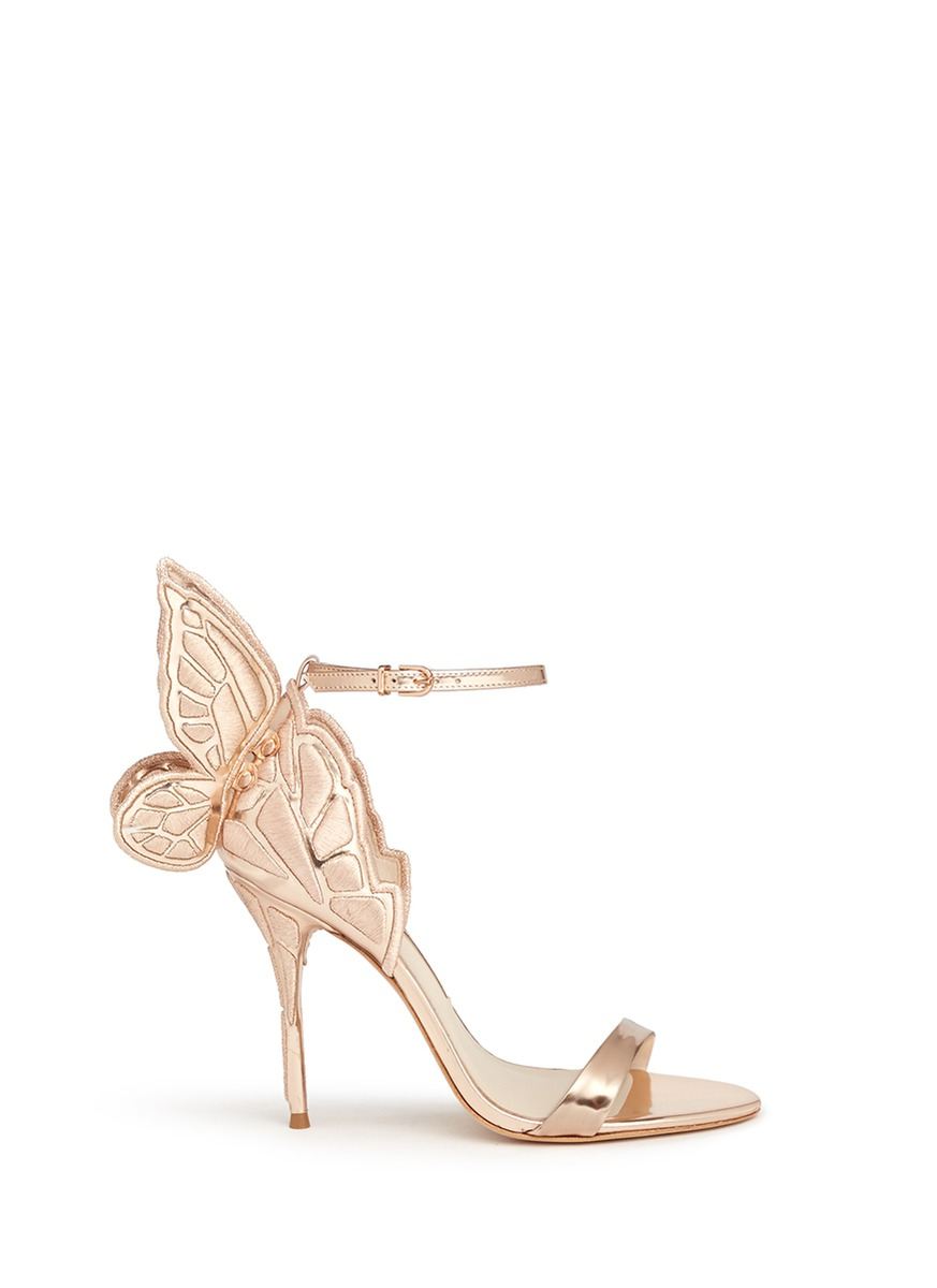 Chiara butterfly embroidery metallic leather sandals by Sophia Webster