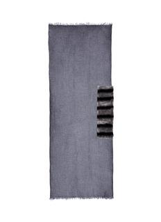 Cutuli CultStripe rabbit fur panel modal-cashmere scarf