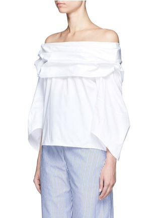 Front View - Click To Enlarge - Rosie Assoulin - Cotton poplin off-shoulder top