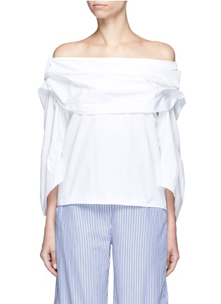 Main View - Click To Enlarge - Rosie Assoulin - Cotton poplin off-shoulder top