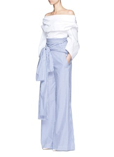 Rosie Assoulin Bow waist stripe wide leg pants