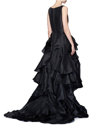 Back View - Click To Enlarge - Maticevski - 'Vanquished' ruffle tulle skirt mesh effect gown