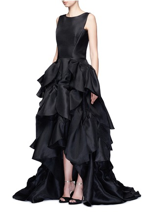 Figure View - Click To Enlarge - Maticevski - 'Vanquished' ruffle tulle skirt mesh effect gown