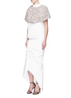 Maticevski'Majestic' beaded embroidered floral bonded mesh cape