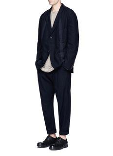 Ziggy ChenStripe soft wool-cotton blend blazer