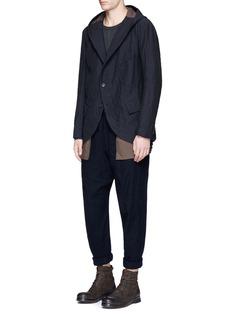 Ziggy ChenStripe jacquard hooded soft blazer