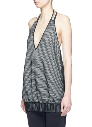 Front View - Click To Enlarge - No Ka'Oi - 'Lune' crystal bead embellished knit halterneck top