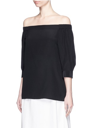 Front View - Click To Enlarge - Theory - 'Joscla' silk off-shoulder top