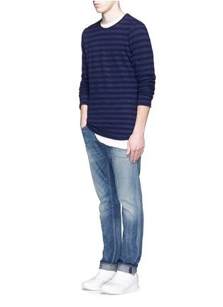 模特儿示范图 - 点击放大 - DENHAM - 条纹纯棉上衣